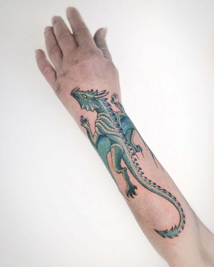 Colour tattoo arm drache konstanz piixs