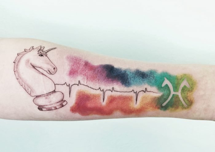Watercolor Aquarell tattoo konstanz bodensee Einhorn springer bunt Herzrythmus