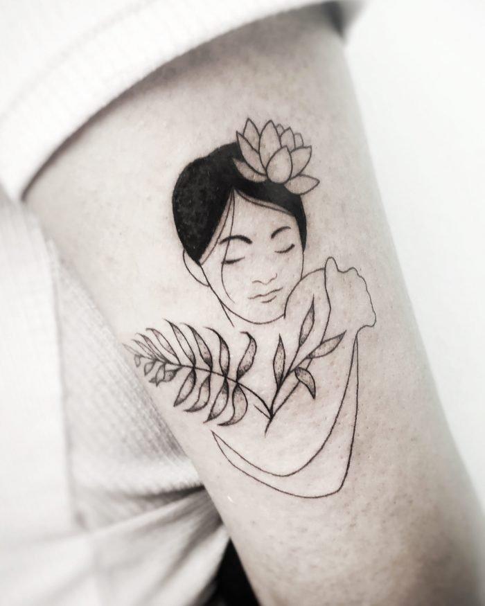Blackwork blumen pflanzen tattoo konstanz bodensee tattoostudio