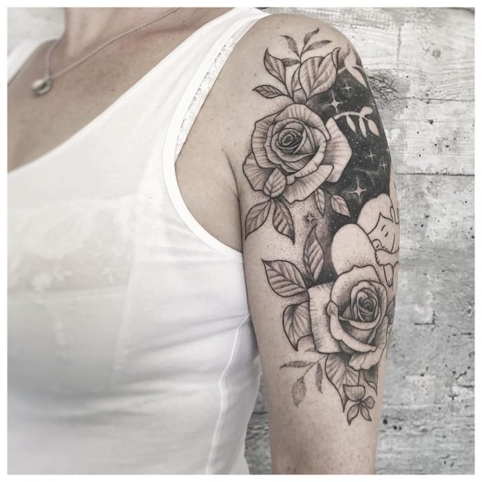 Cover up Dotwork tattoostudio konstanz bodensee liebe mutter kind tattoo flower rose 1