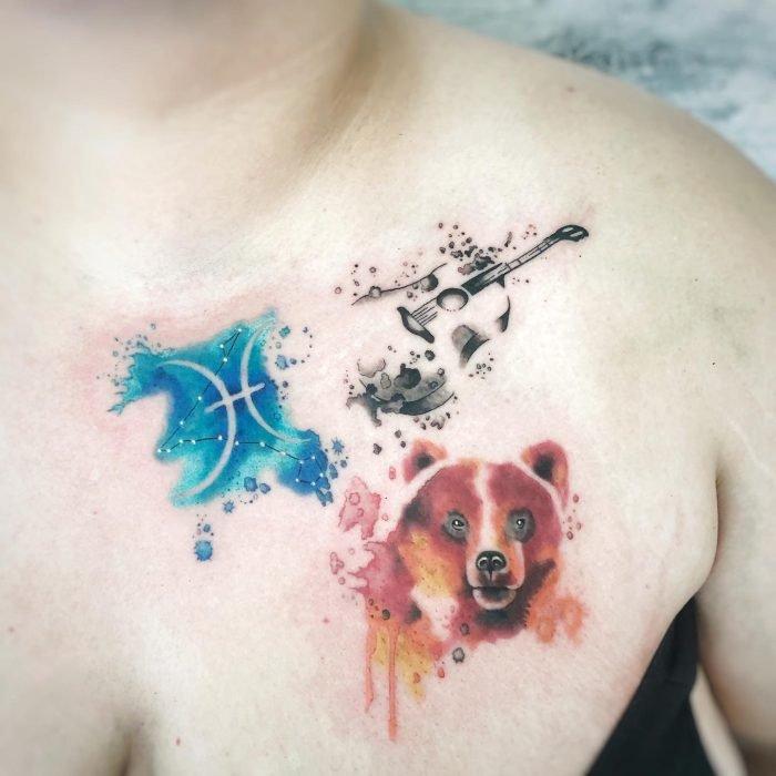 watercolor aquarell tattoo baer bär sternzeichen fische gitarre tattoostudio konstanz bodensee
