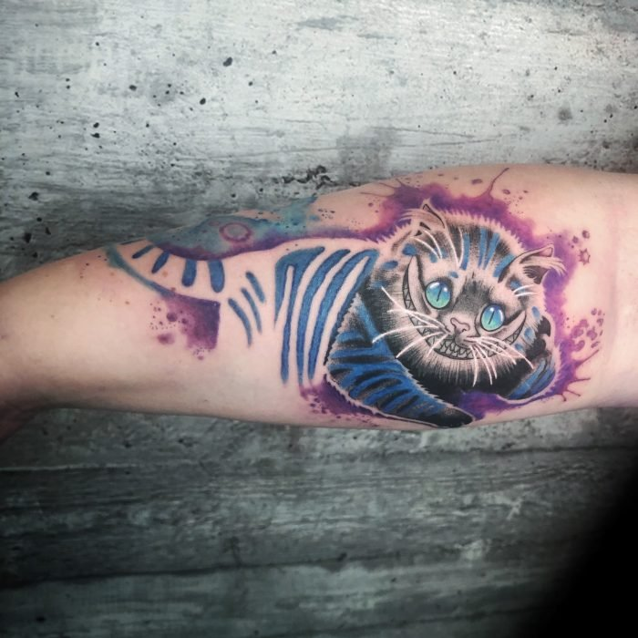 watercolor tattoo aquarell grinsekatze tattoostudio piixs konstanz bodenseegrinning cat