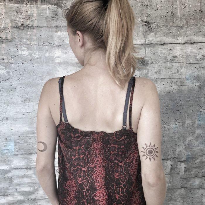 Dotwork moon mond sun sonne konstanz bodensee tattoostudio