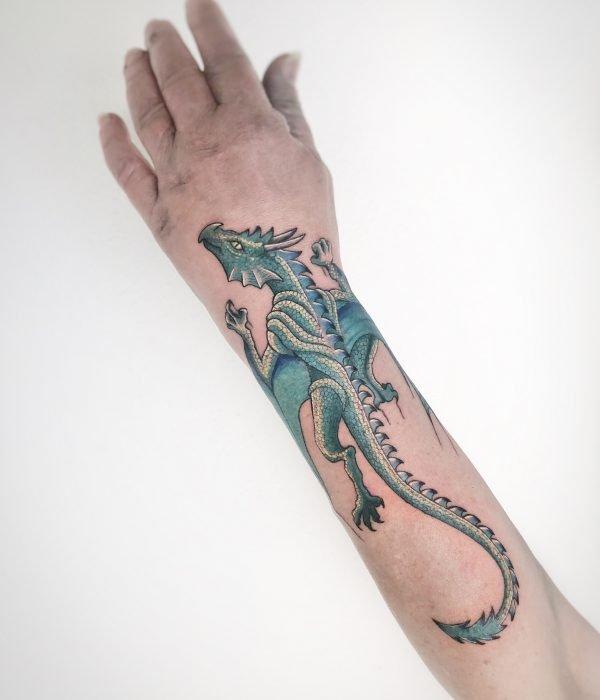 Colour tattoo arm drache konstanz piixs