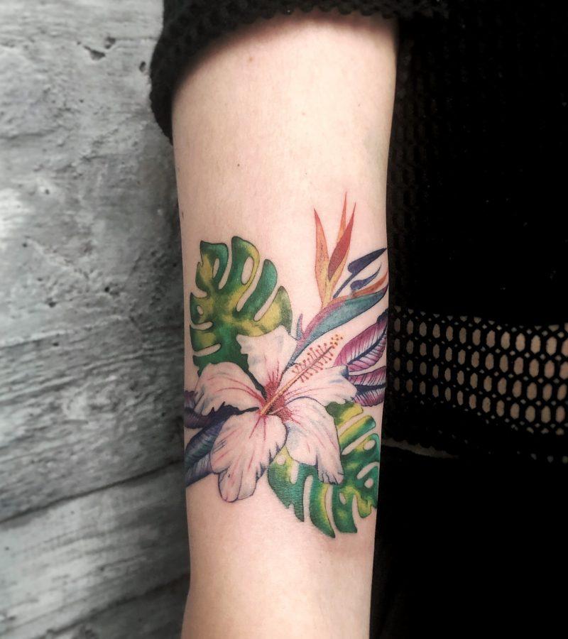 colour tattoo flower dschunel tattoostudio konstanz exotic bodensee bunt
