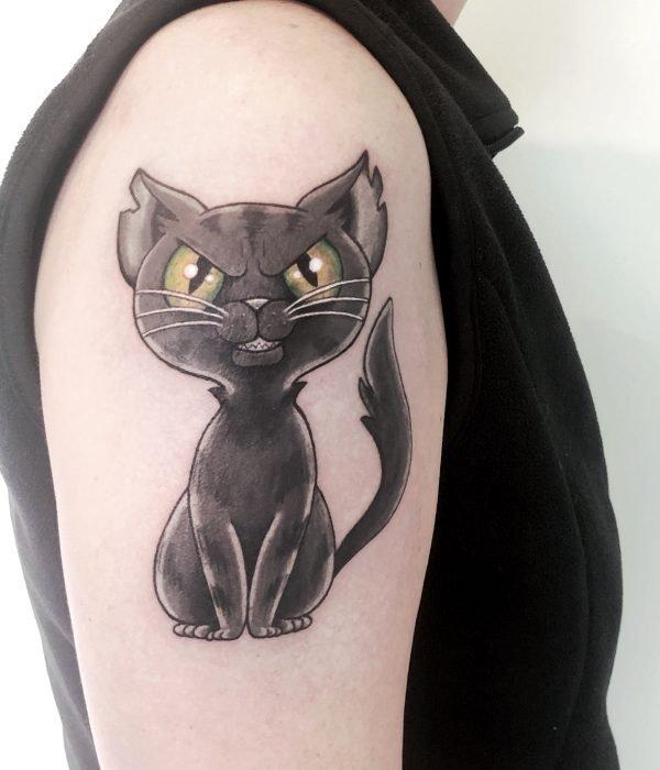 colour comic tattoo katze black cat konstanz tattoostudio bodensee