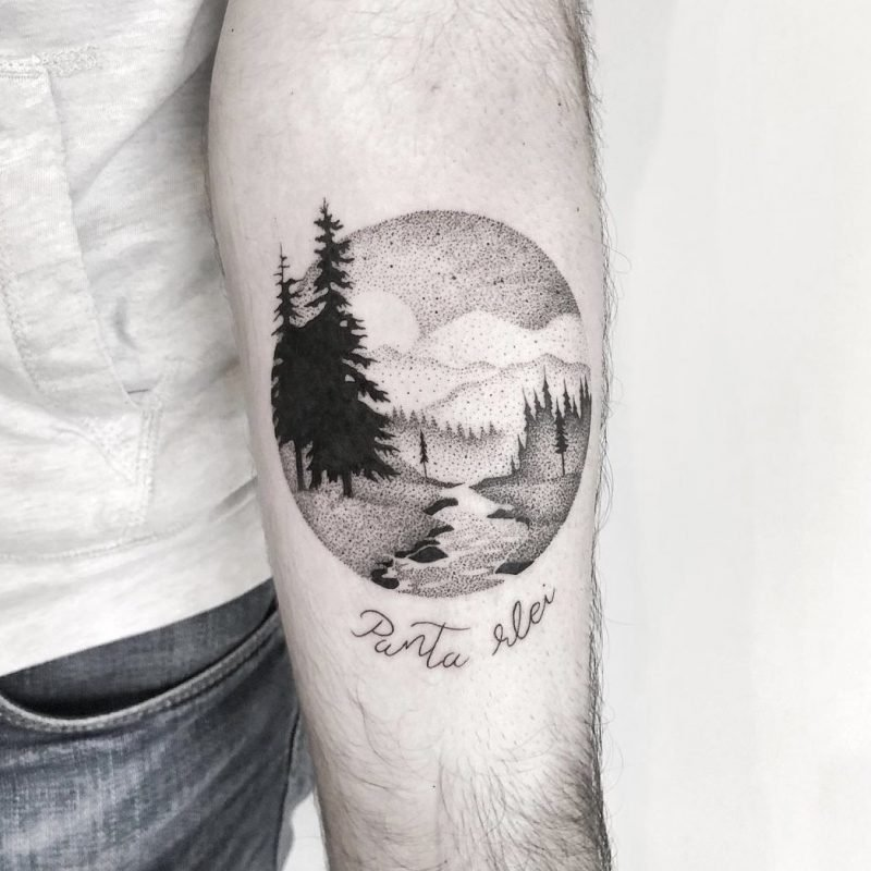 dotwork tattoo tree landschaft landscape konstanz tattoostudio PIIXS kaya piixs tattoo zürich bodensee lake of constanze