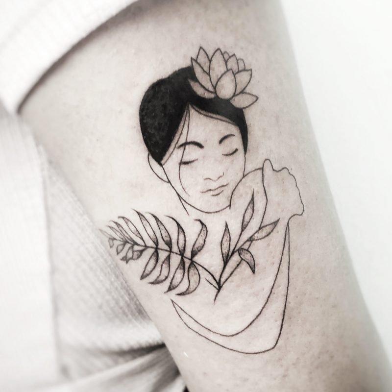 linework Blackwork blumen pflanzen tattoo konstanz bodensee tattoostudio
