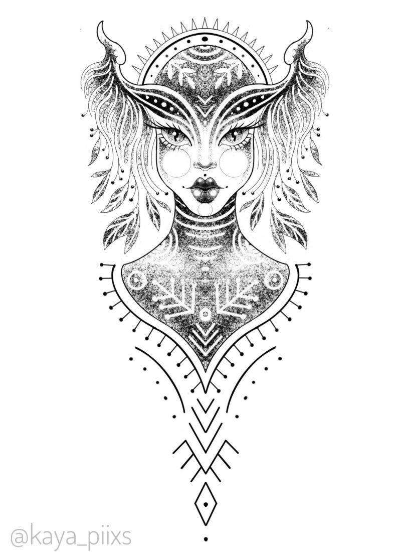 wanna do germany tattoo girl dotwork waldelfe hexe forest forestgirl wirchofthewood goblin girl tattooartist kaya piixs tattoostudio konstanz bodensee zürich ink dotworkartist