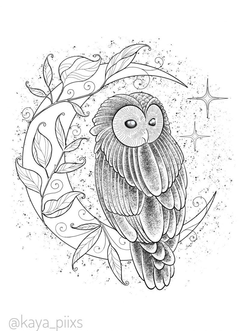 wanna do germany tattoo owl moon dotwork tattooartist kaya piixs tattoostudio konstanz bodensee zürich ink dotworkartist