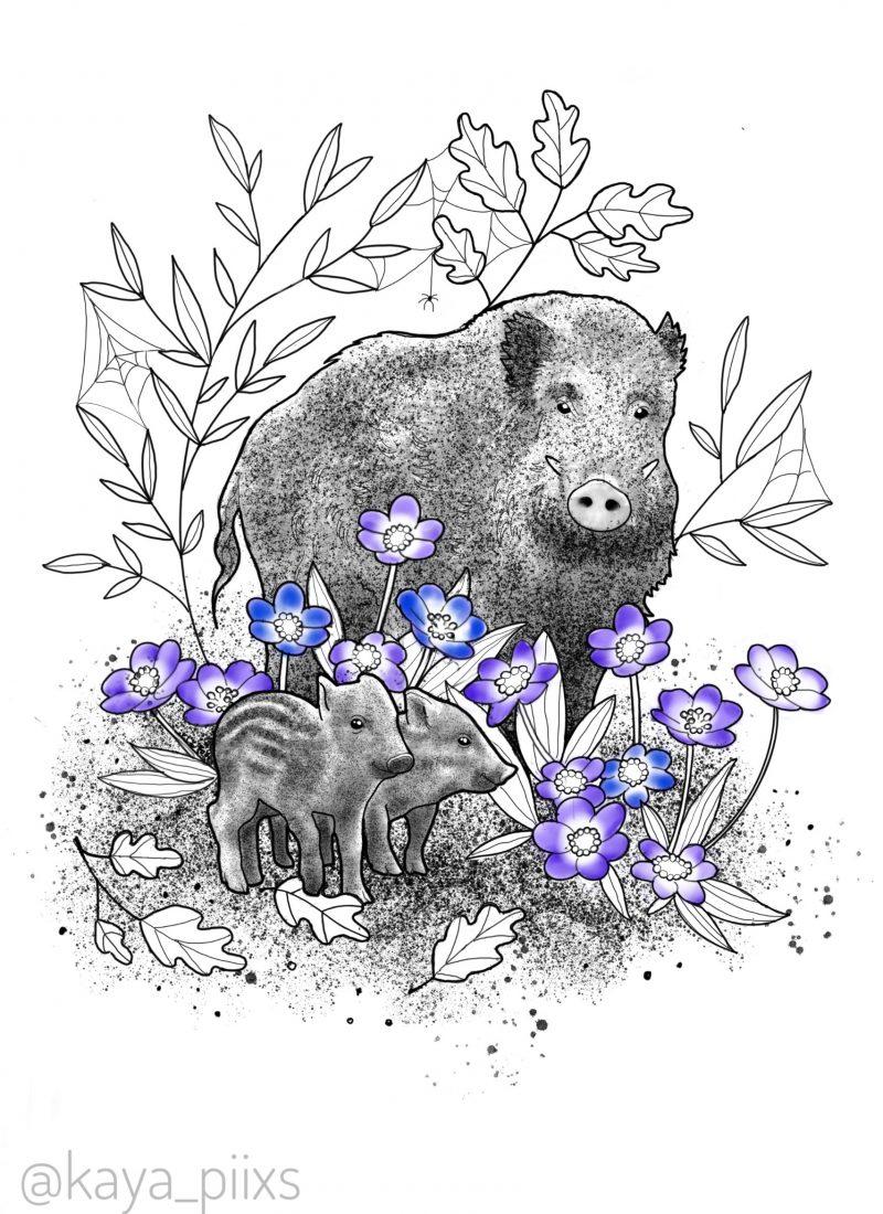 wanna do germany tattoo wildschweine wild boar forest wald waldtiere dotwork tattooartist kaya piixs tattoostudio konstanz bodensee zürich ink dotworkartist