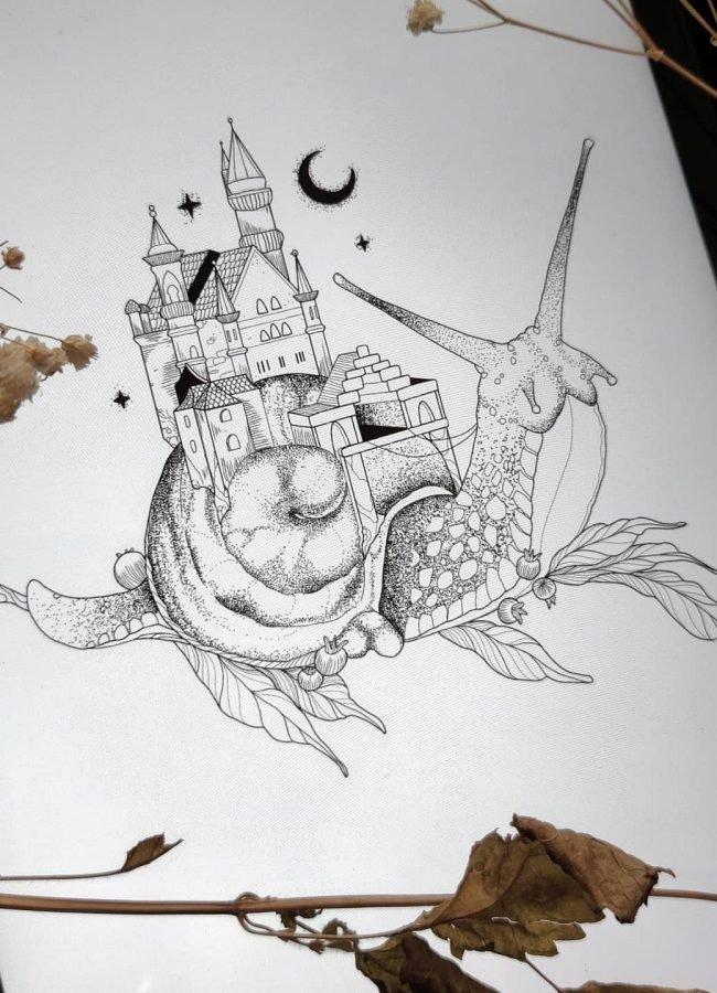 wanna do liza snailhouse snail tattoo konstanz tattoostudio piixs bodensee zürich linework blackwork engraving art dotwork blackworkers witchtattoo witch tattoo