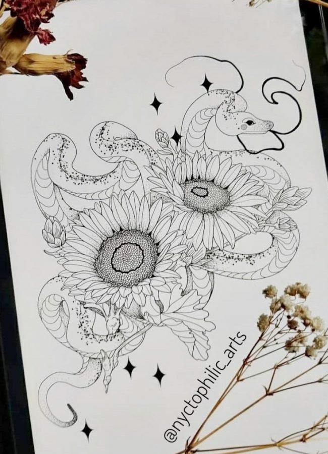 wanna do liza snake sun flower sonnenblume konstanz tattoostudio piixs bodensee zürich linework blackwork engraving art dotwork blackworkers witchtattoo witch tattoo