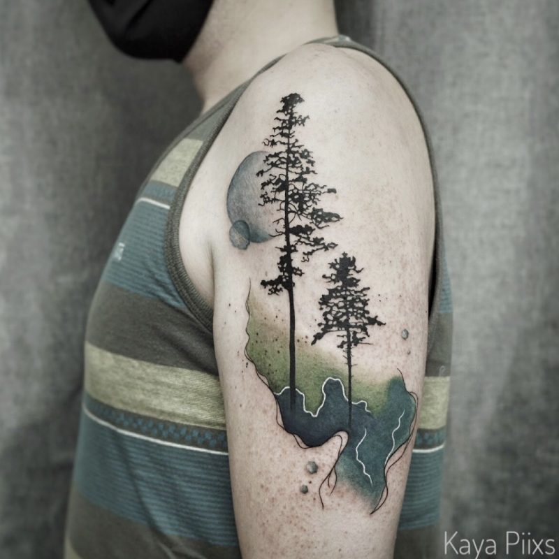 watercolor tattoo aquarell tree bäume baum konstanz tattoostudio PIIXS kaya piixs colourtattoo green blue tattoo zürich abstract bodensee lake of constanze